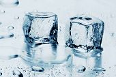 stock photo of ice-cubes  - ice cubes on water - JPG