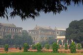 garden view on red fort in delhi, india on a sunny day
