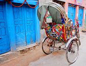 foto of rickshaw  - colorful nepalese rickshaw in kathmandu - JPG