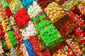 pic of laxatives  - colorful assortment of candy at boqueria market in barcelona - JPG