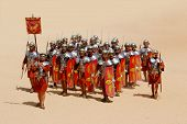 Group of roman soldiers during Roman show in Jerash, Jordan