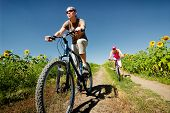 picture of exercise bike  - women relax biking on summer road - JPG