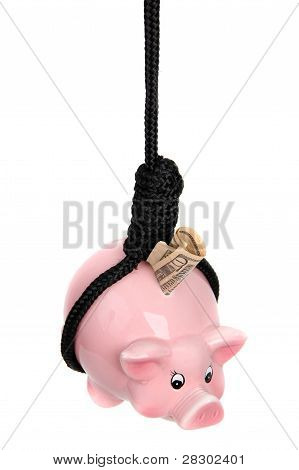 Piggy Bank With Dollar Banknote And Black Rope