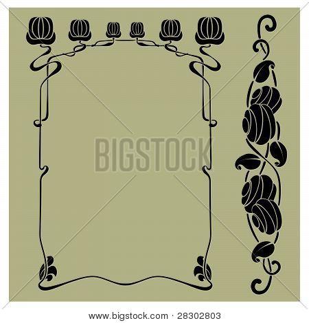 Art nouveau frame and design element