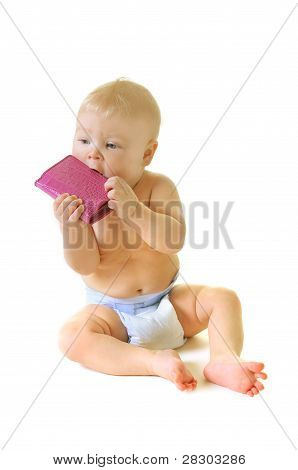 beautiful baby with pink wallet