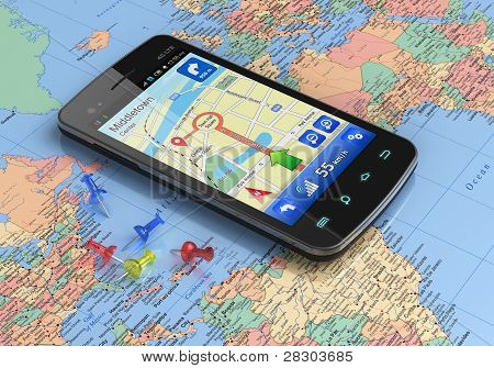 Smartphone with GPS navigation on world map