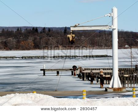 Marina Hoist In Winter