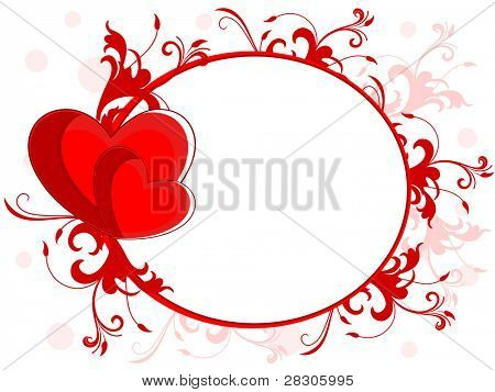Abstract love frame made with red heart, floral and copy space on seamless floral background for valentines day and other occasions.