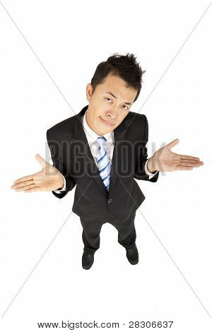 asian businessman shrugging