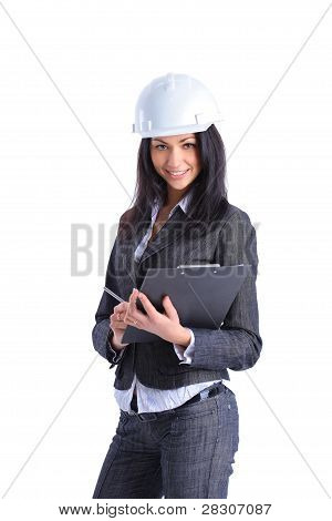 Portrait of attractive architect girl with hard hat - isolated on white background