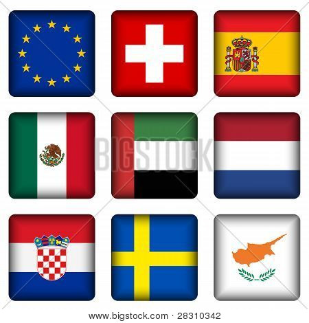 Square National Flag Buttons 5