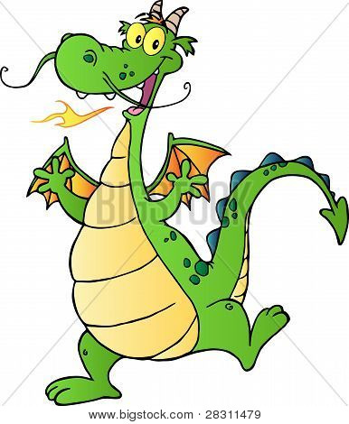 Happy Dragon Cartoon Character