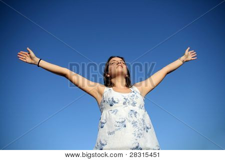 Fashion girl with arms wide open