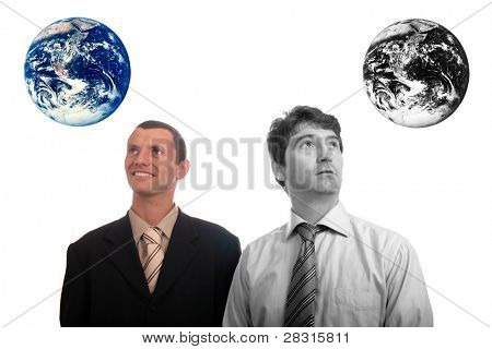 results of polution on earth (enviromental concept) - happy man and sad man
