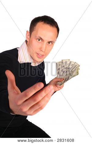 Young Man In Black With Money Invites
