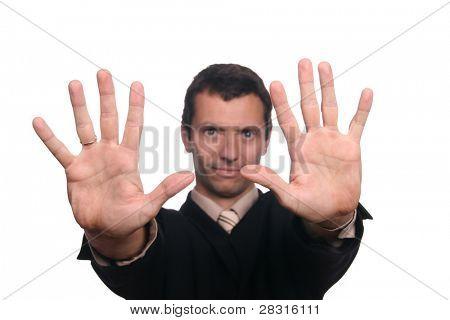 businessman sign stop