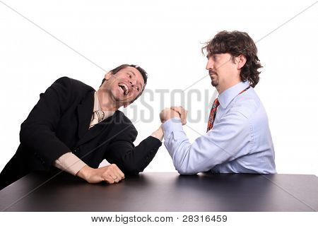 businessman arm wrestling