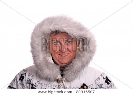 mature woman similing with winter coat