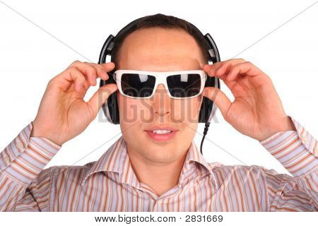 Young Man With Sunglasses And Headphones Touch Glasses