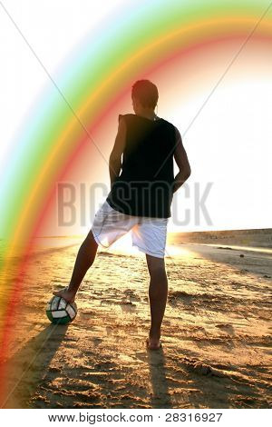 beach soccer player under the rainbow (illustration)