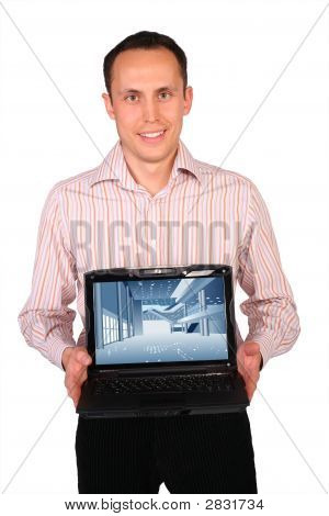 Young Man Shows Notebook