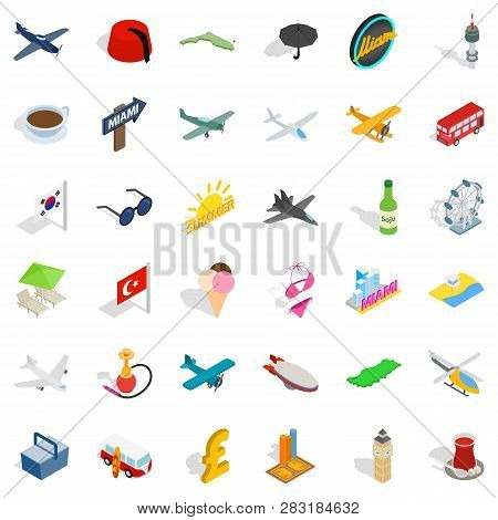 Travel Time Icons Set Isometric