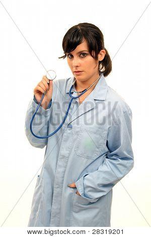 Arzt, isoliert auf weiss, schöne Krankenschwester Frau, Gesundheitswesen Foto