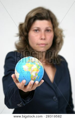 young pretty woman with Earth, earth protection photo (focus on earth globe)