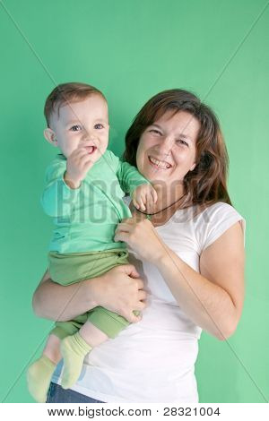 schönes Kind mit seiner Tante, Studio shoot