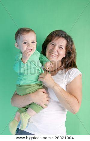 beautiful baby with his aunt, studio shoot