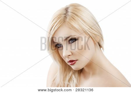 Blond With Hair Over One Shoulder