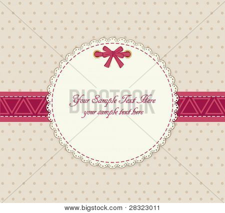 greeting card on a beige background with bow