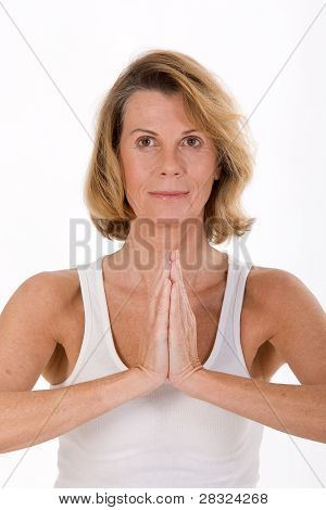 Portrait of an elderly woman in yoga