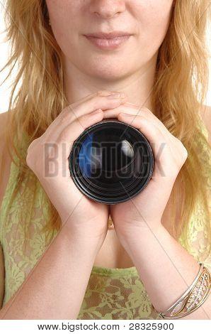 Girl Holding A Photo Lense.