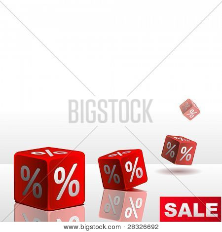 Symbols of percent on falling red cubes. Vector