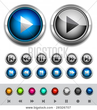 Glossy media buttons. Vector