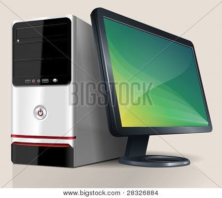 Desktop Computer. Vector Illustration