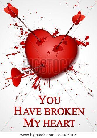 Valentine's day card. Broken Heart. Vector Illustration