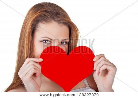 Young Woman Holding A Heart