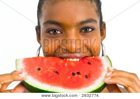 Girl Eating A Red Juicy Watermelon