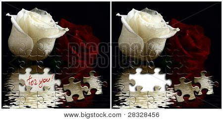 Two Cards With White And Red Roses.
