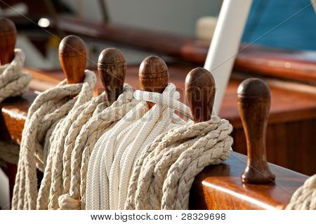Sailing Rope On Belaying Pins