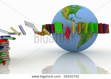 books fly into belt round the earth