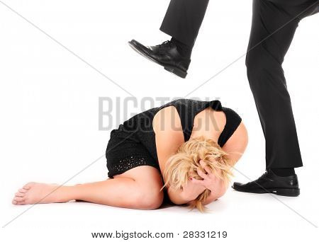 A picture of a male leg treading on a female employee over white background