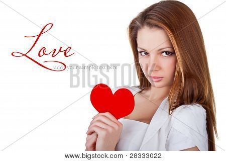 Beautiful Young Woman Holding A Heart