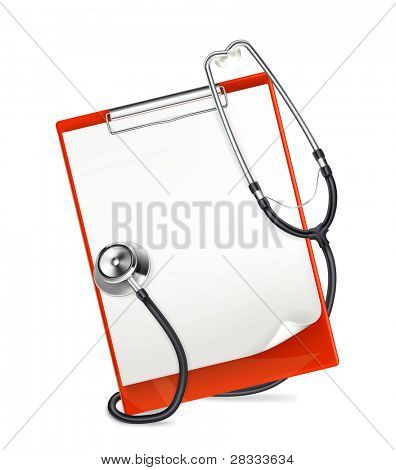 Clipboard with stethoscope, vector