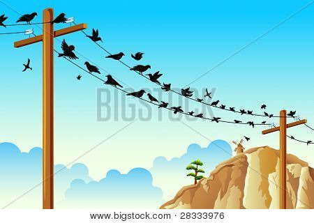 illustration of birds sitting on pole wire in natural background