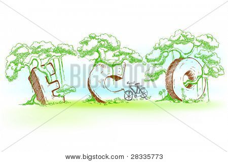 illustration of eco text with tree in doodle style
