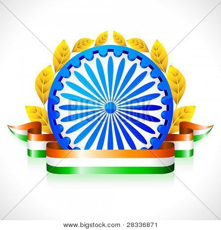 illustration of Indian flag color ribbon with Ashok wheel
