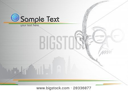 illustration of portrait of Mahatma Gandhi on Indian monument tricolor background